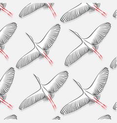 white stork pattern big flying bird vector image