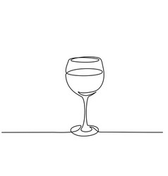wine glass continuous one line drawing vector image