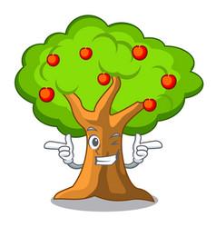 Wink apple tree full of isolated mascot vector