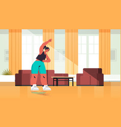 woman doing stretching exercises at home girl vector image