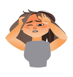 Woman having severe headache migraine vector