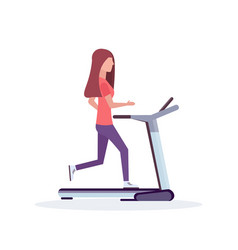 woman running treadmill sportswoman working out vector image
