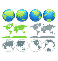 world globes and world map vector image