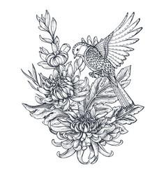 wreath with hand drawn chrysanthemum vector image