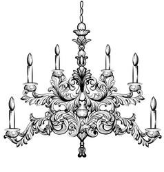 baroque chandelier luxury decor accessory design vector image