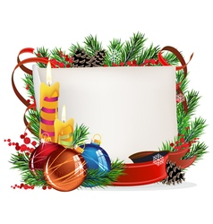 Christmas wreath with baubles and candles vector image vector image