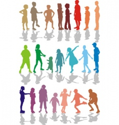 kids color silhouettes vector image vector image