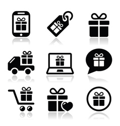 Present shopping icons set vector image vector image