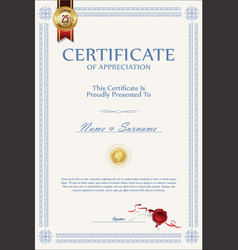 retro vintage certificate or diploma template 5 vector image vector image