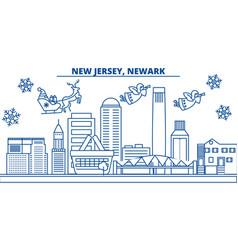 usa new jersey newark winter city skyline vector image vector image