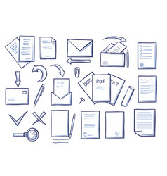 office papers set colorless vector image