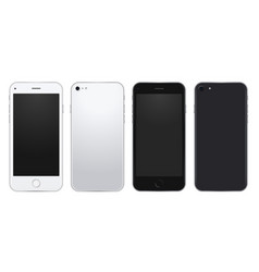 Set of silver and black mobile phone template with vector