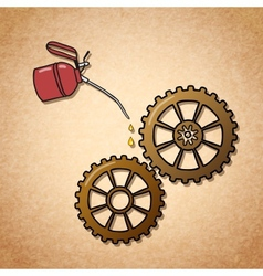 Smoothly spinning gears symbol vector image