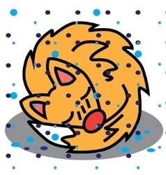 Christmas card with cartoon cute sleeping vector image
