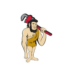 Neanderthal CaveMan Plumber Monkey Wrench Cartoon vector image