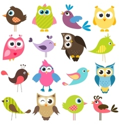 set of funny colorful birds vector image