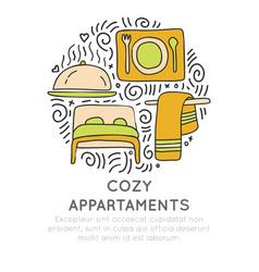 cozy appartments hand draw cartoon icon vector image