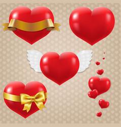 hearts symbols set vector image vector image