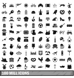 100 mill icons set simple style vector