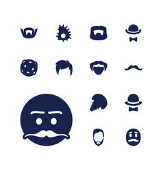 13 mustache icons vector