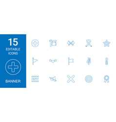 15 banner icons vector image
