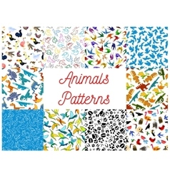 Animals and birds seamless patterns set vector