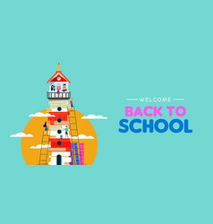 back to school children book tower concept vector image
