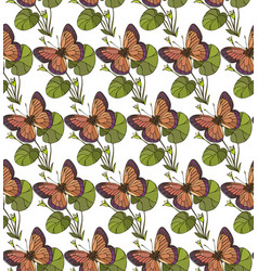 background seamless pattern with butterflies vector image