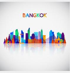 bangkok skyline silhouette in colorful geometric vector image