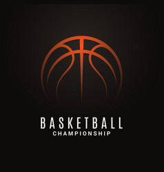 basketball championship logo ball on black object vector image