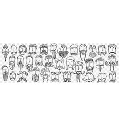 beard and mustache hand drawn doodle set vector image