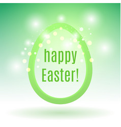 beautiful easter egg on green with glow particles vector image vector image