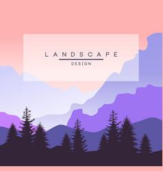 beautiful peaceful mountain landscape in purple vector image