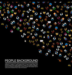 Big people crowd on black background vector