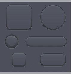 Black blank buttons round oval square shaped vector