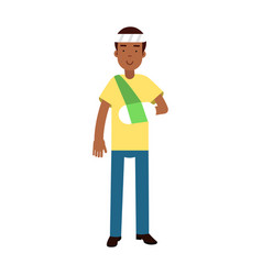 black man with arm in a plaster and bandage on his vector image
