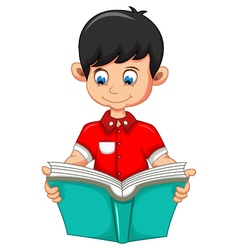 boy cartoon reading book for you design vector image