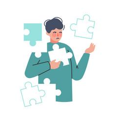 boy tries to combine puzzle cognitive development vector image