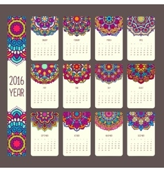 Calendar 2016 with mandalas vector image