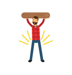 cartoon of strong bearded man vector image