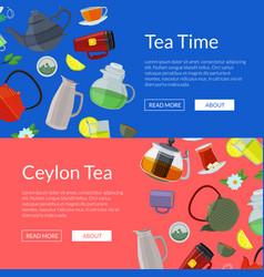 Cartoon tea kettles and cups web banner vector