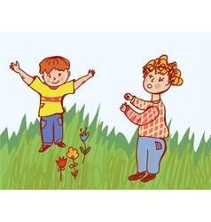 Children fighting vector image