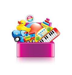 Children toys box isolated vector