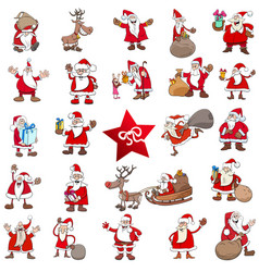 Christmas cartoon characters big set vector