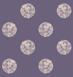 Circles with silhouettes of thistle flowers vector