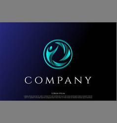 circular circle human for healthy logo design vector image