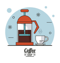 colorful poster of coffee shop with glass jar and vector image