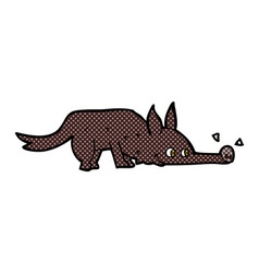 comic cartoon dog sniffing floor vector image