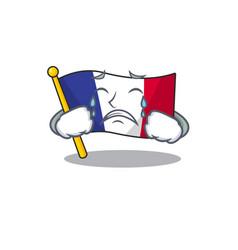 Crying flag france in cartoon shape vector