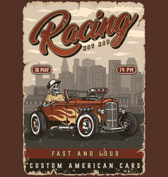 Custom cars racing colorful vintage poster vector